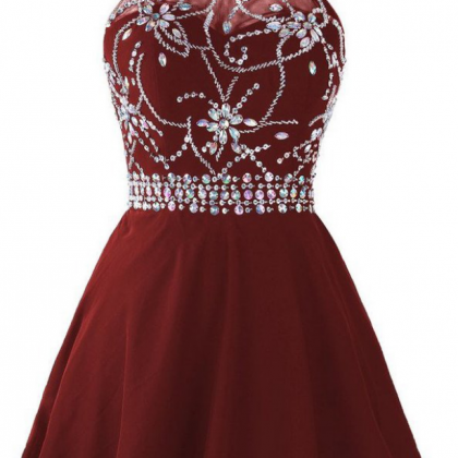 Cute Homecoming Dresses,Burgundy Ho..