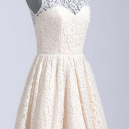 Champagne Homecoming Dresses,Lace H..