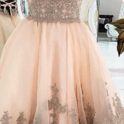 Peach Homecoming Dress with Appliq..