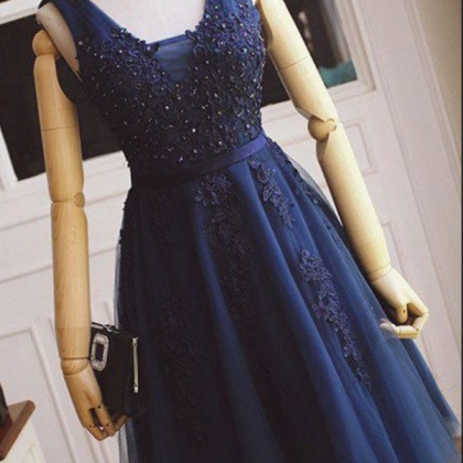 Navy Blue Appique Beaded Strapless ..