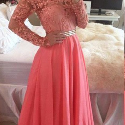 Long Sleeves Chiffon Prom Dresses O..