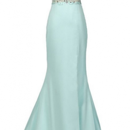 Mint Halter Open Back Long Mermaid..