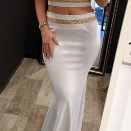 White Two Pieces Long Memaid Prom D..