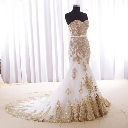 Real Wedding Dress,Gold Lace Appli..