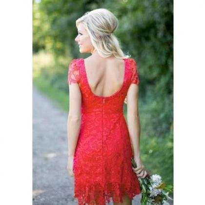 Full Lace Red Knee Length Bridesmai..
