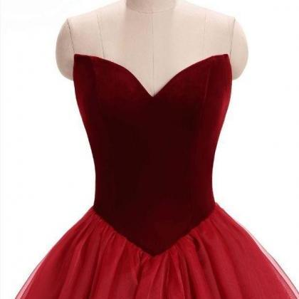 Cheap Burgundy Velvet Prom Dress