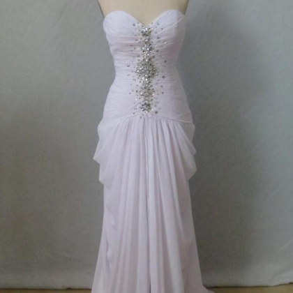 Sweetheart Neck White Chiffon Prom ..