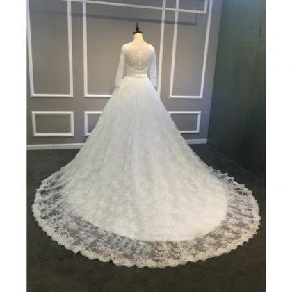 Ball Gowns Ivory Long Lace Tulle We..