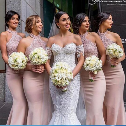 Dust Pink Mermaid Satin Bridesmaid ..