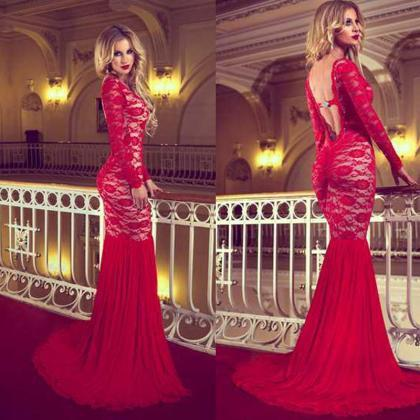 Red Prom Dresses Backless Mermaid L..