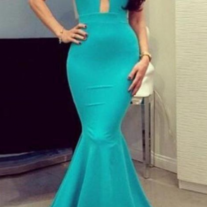 Turquoise Blue Cheap Mermaid Prom D..