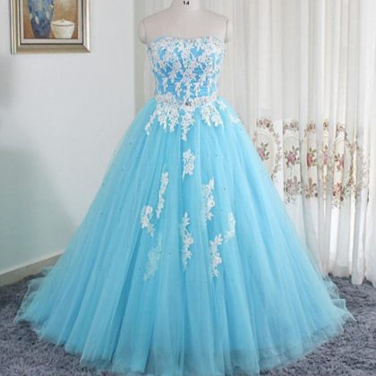 ball gown,blue prom dresses, sexy ..