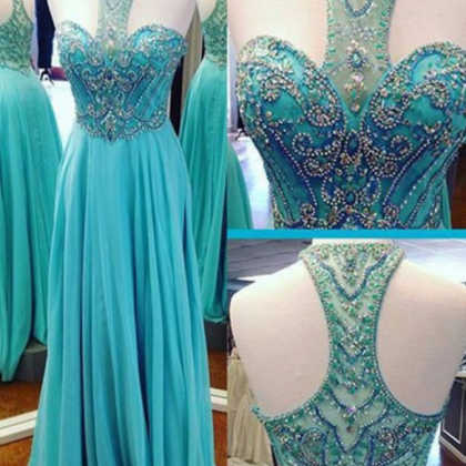 Prom Dress,Beaded Prom Dress,A-lin..