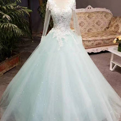 Unique mint tulle long lace top wi..