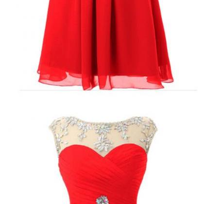 Red Bridesmaid Dress,Chiffon Short ..