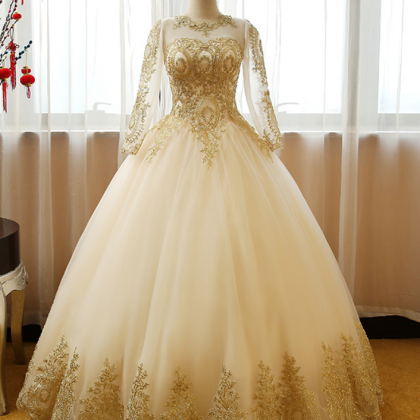 long Sleeves ball Gown Tulle Weddi..