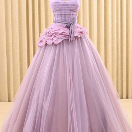 New design lilac tulle strapless lo..
