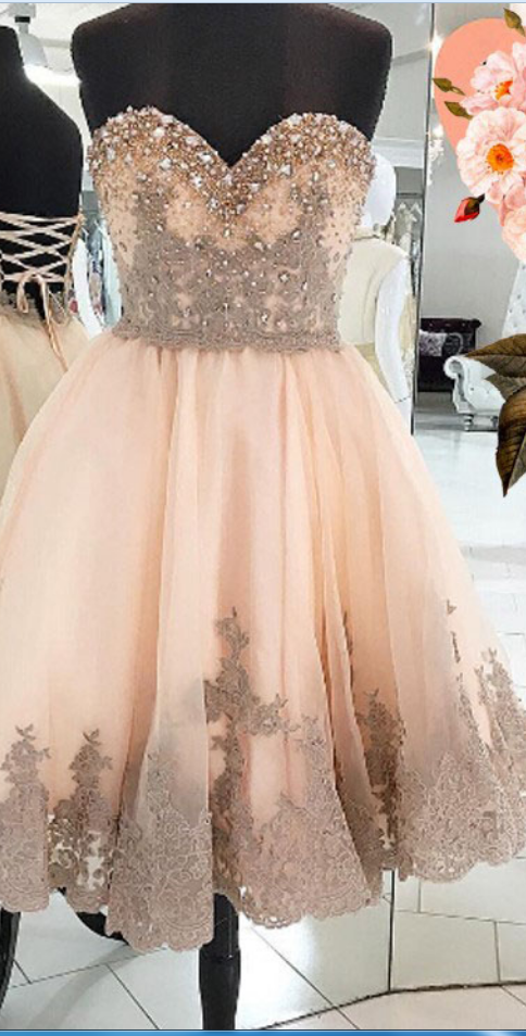 Peach Homecoming Dress with Appliques, Beading Homecoming Dresses,Sweetheart Homecoming Dress,Short Homecoming Dress,Cute Homecoming Dresses,Homecoming Dress