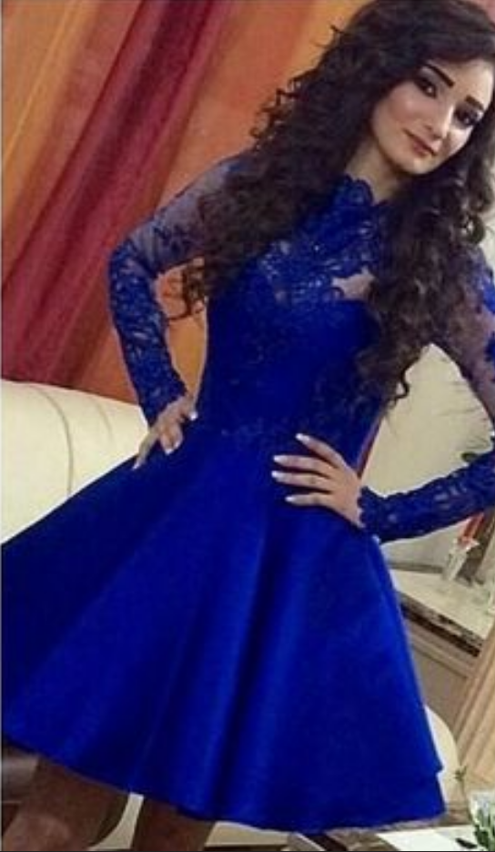Homecoming Dresses, Sexy Homecoming Dresses,Junior Homecoming Dresses,Long sleeve lace homecoming dress, Royal blue homecoming dress, short homecoming dresse