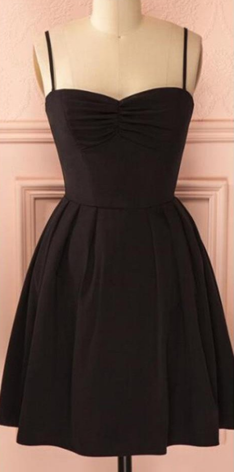 Spaghetti strap black simple lace cheap sexy homecoming prom dress,
