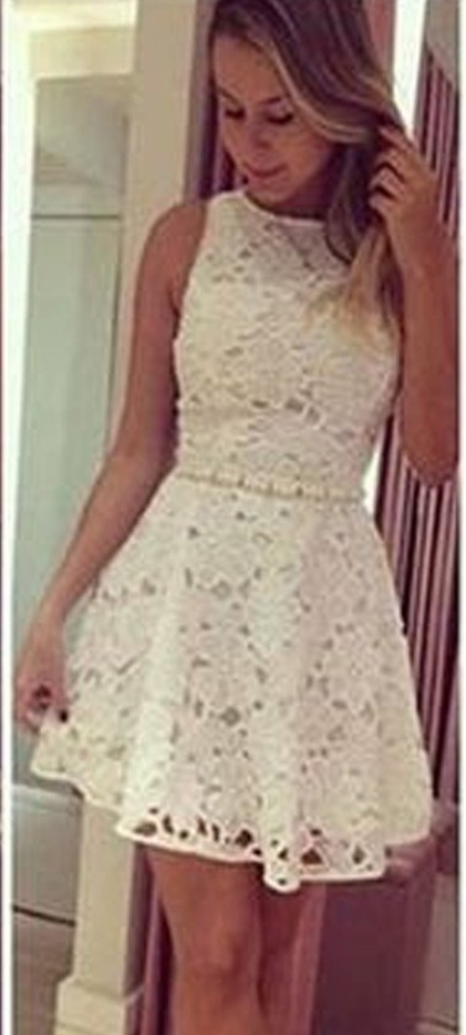 c165cd3174 Short White Lace Simple See Through Mini Cute Homecoming Prom Dress ...