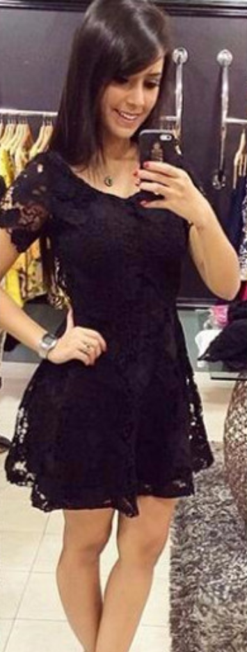 Short Sleeve Homecoming Dress,Black Lace Homecoming Dresses