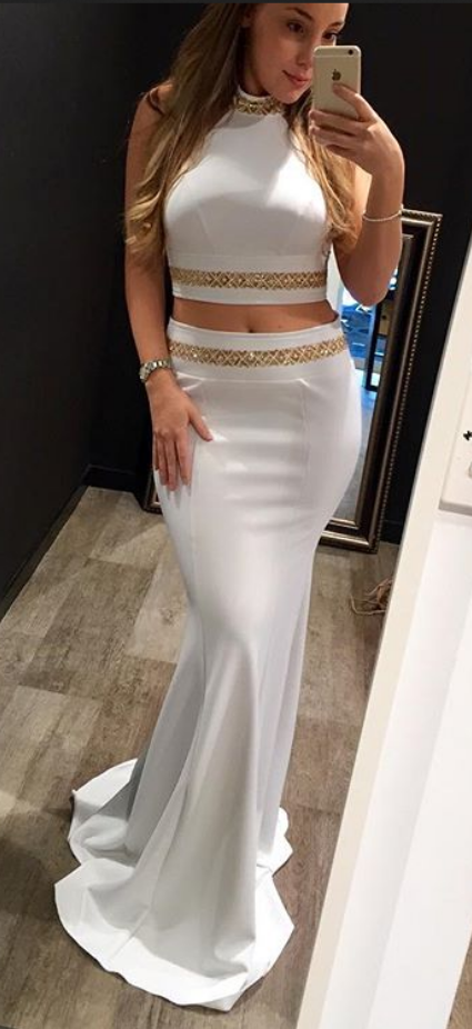 White Two Pieces Long Memaid Prom Dresses For Teens,Elegant Prom Gowns,Handmade Evening Dresses,Beading Prom Dress,Cute Dresses