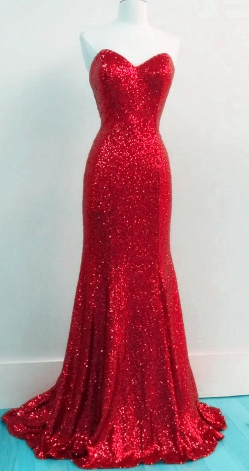 Simple Red Mermaid/Trumpet Party Dresses Sexy Backless V-Neck Sequined Lace Long Prom Dresses Formal Gowns