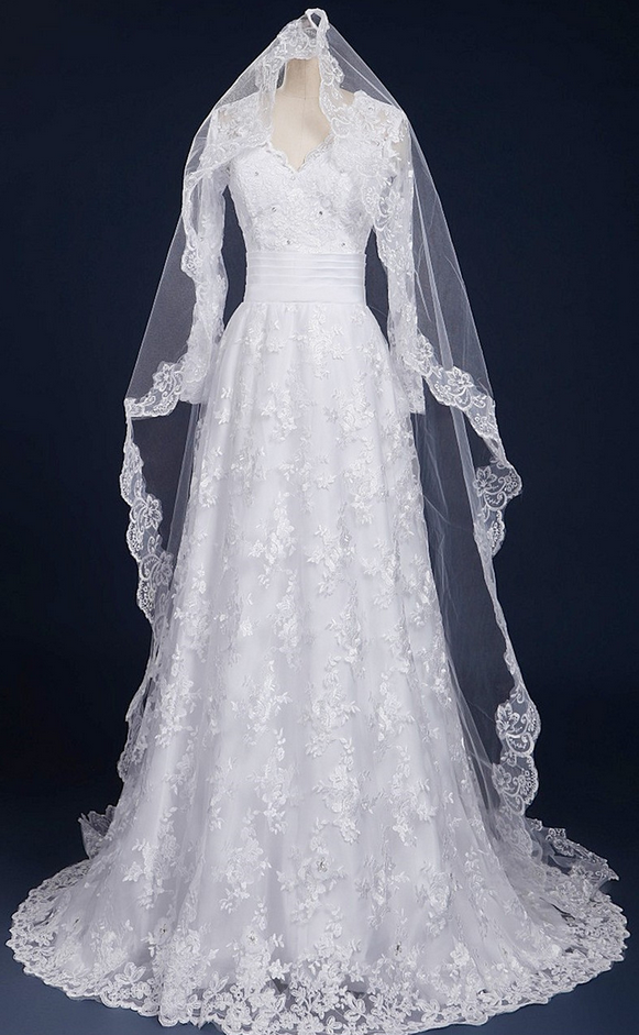 V-neck Wedding Dresses,Luxury A-line Wedding Dress,Sweep Train Bridal Dress,Lace Long Sleeves Beading Wedding Dress