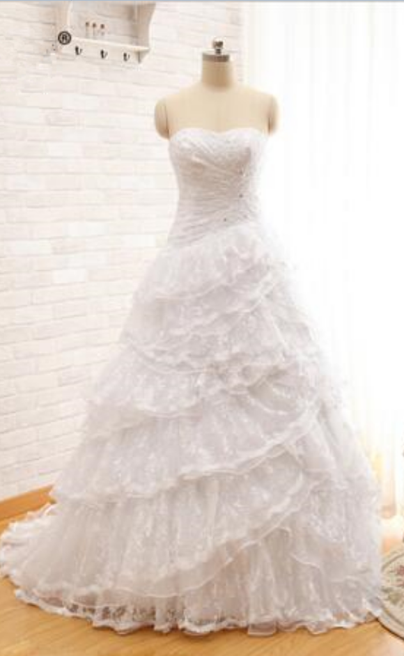 Real Photos Strapless Layers Lace Long Detachable Train Ball Gown Two Pieces Wedding Dresses Bridal Gown