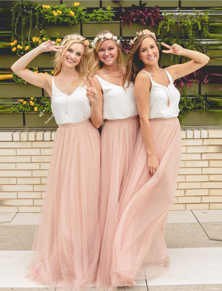 1aa84110b7 Blush Pink Bridesmaid Dress, Two Pieces Bridesmaid Dress, Beach Wedding  Party Dresses