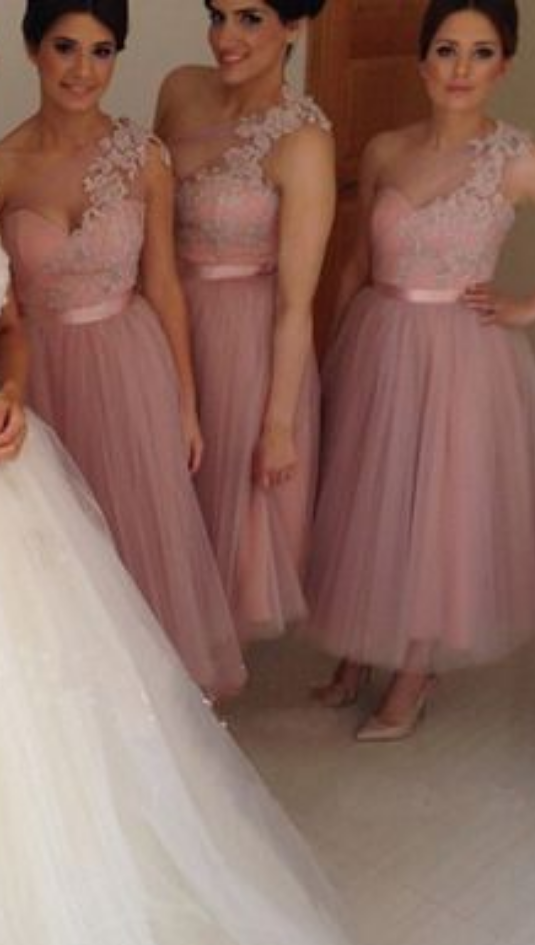 Ankle Length Bridesmaid Dresses One Shoulder Lace Bridesmaid Dresses Tulle Bridesmaid Dresses Cute Bridesmaid Dresses Cheap Bridesmaid Dresses