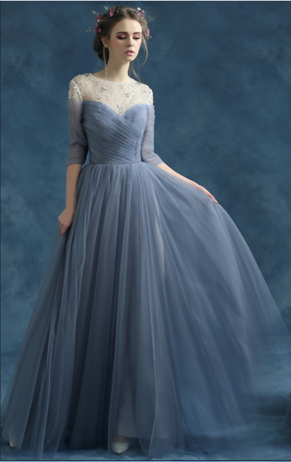 Blue Grey Prom Gown Crystal Half Sleeve Maxi Long Evening Dress ...