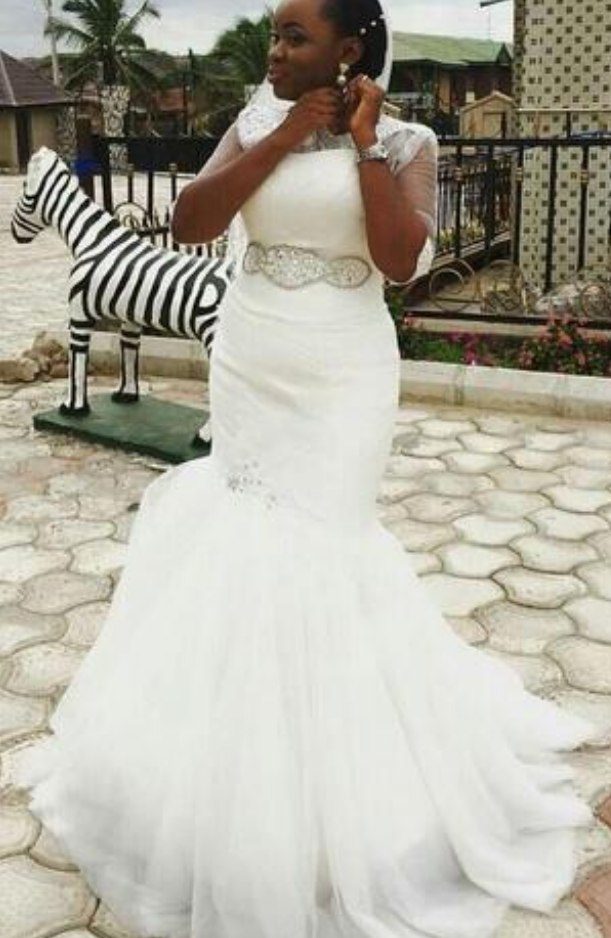 99d1e0ca0c19 New Nigerian South African Mermaid Wedding Dresses With Beads Sashes Lace  Appliques Tulle Wedding Bridal Gowns