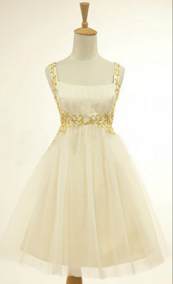 Ivory Homecoming Dresses Zipper-Up Sleeveless Tulle Above Knee Square Neckline Empire