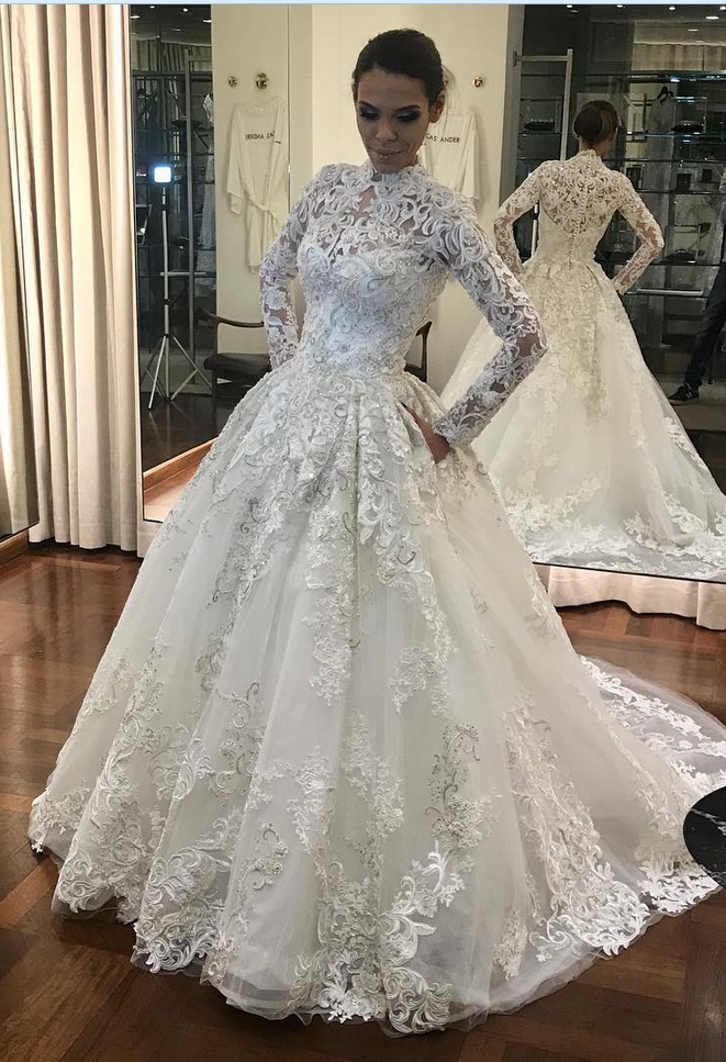 High Neck Wedding Dress, Long Sleeve Wedding Dress, Muslim Wedding ...