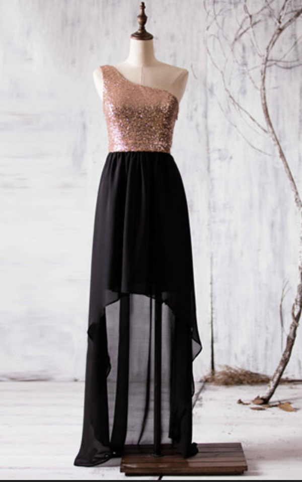 405d3b55d8 Black High Low Bridesmaid Dresses With Rose Golden Sequins ...