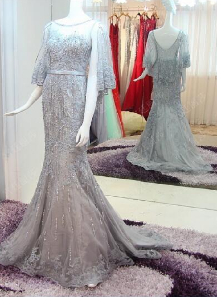 Customized Spring and Summer Elegant Mermaid Gray Ball Dresses Decal Lace Beads Ladies Evening Dresses Party