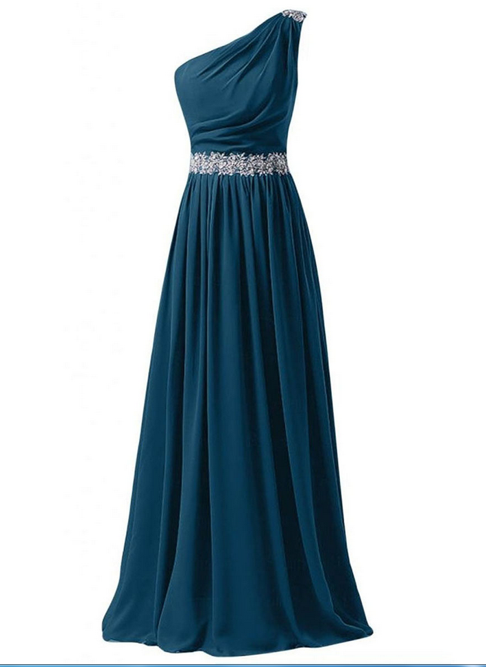 b218b5cee90 Sequins One Shoulder Steel Blue Prom Dress