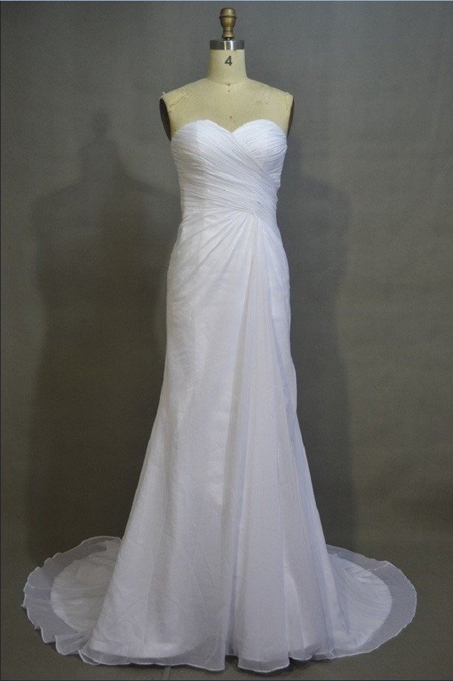 Simple Sweetheart Neck Strapless Sheath Court Train Ivory Chiffon Beach Wedding Dresses