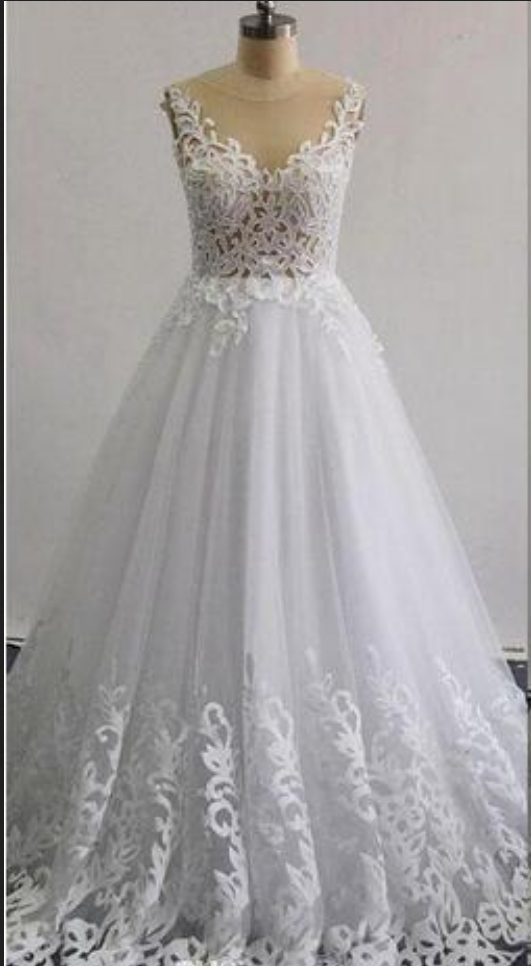Real Images Beaded Wedding Dresses A -Line Illusion Neckline Sleeveless Layers Skirt Ruffle Lace Appliques Bridal Gowns