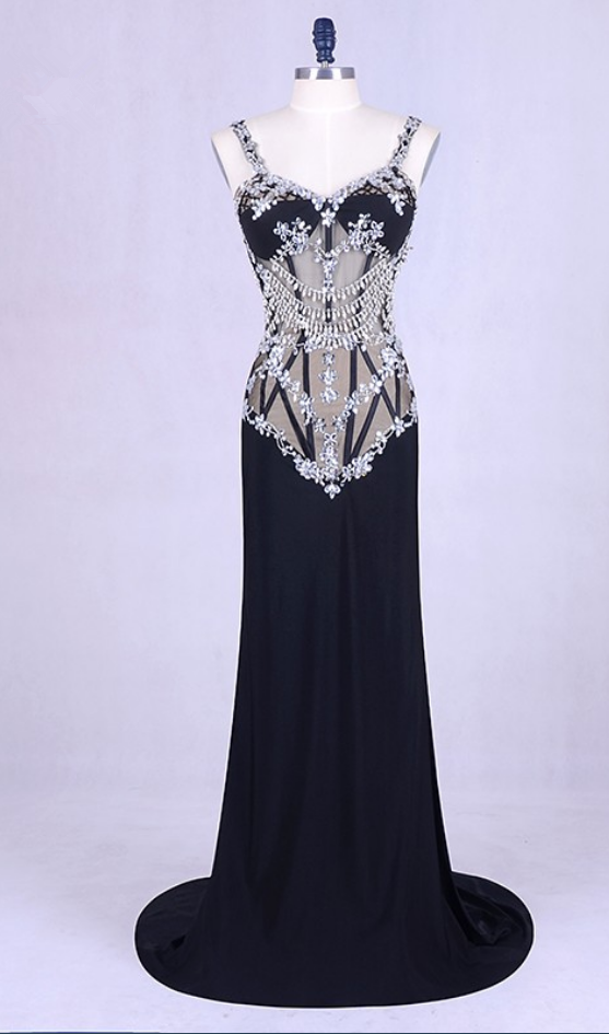 Mermaid dress night Spaghetti with black silk Strass intermittently long-  term perspective and in the 460e495bae22