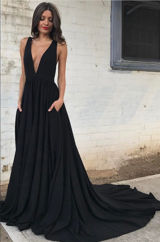 d6cda8eb9a Custom Made Black Plunging V-Neckline Backless Chiffon Long Evening Dress