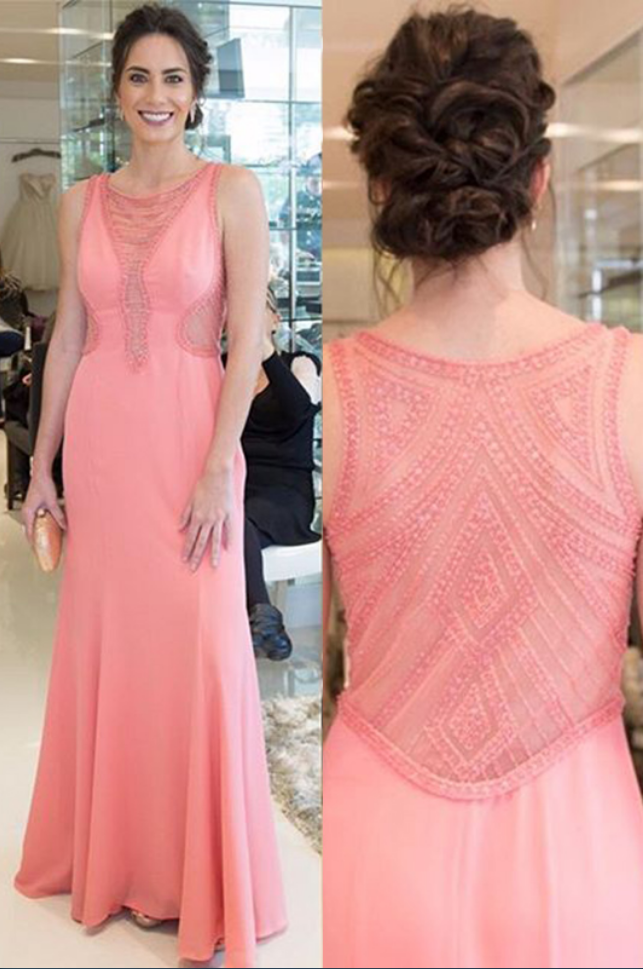 Mermaid Crew Floor-Length Watermelon Stretch Satin Prom Dress with Beading