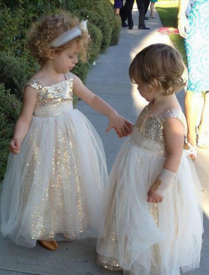 e0fd3c22d Sparkly A-line Gold Sequins Long Flower Girl Dresses,Kids Dresses,Lovely  princess Flower Girl Dres,prom dresses