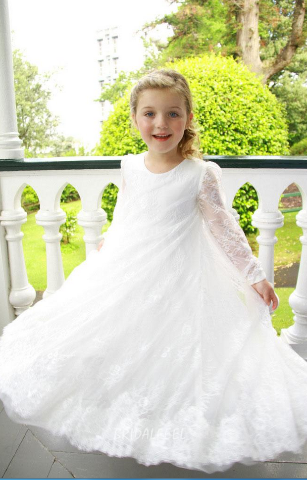 Flower Girl Dresses Lace Ankle Length Long Sleeves A-Line O-Neck Daughter Party Girl Dress Child Size 2-14 Custom Make