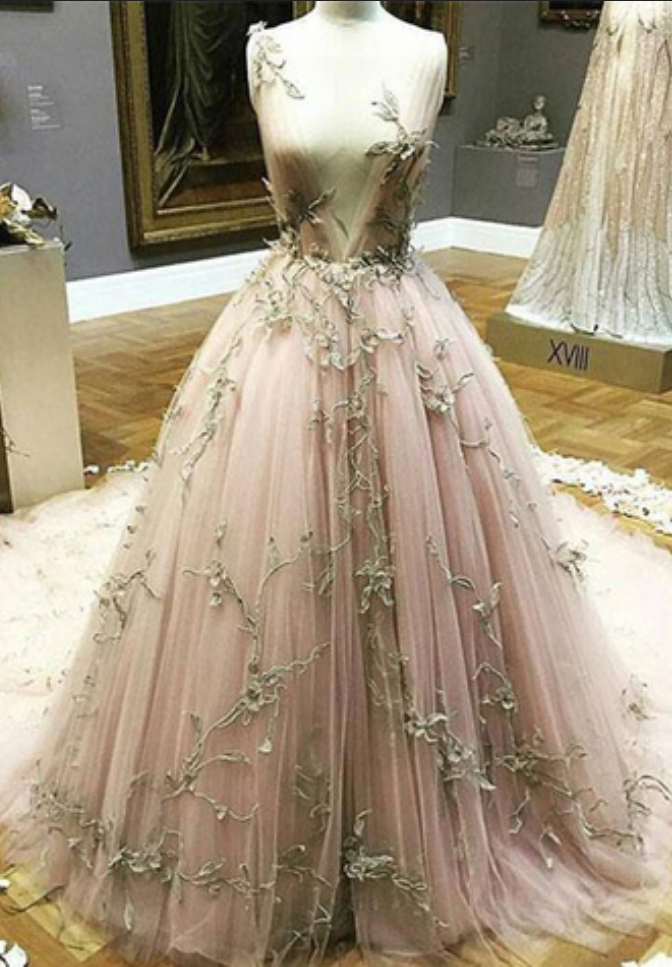 e65d212f66bd Blush pink tulle long gold lace appliques evening dress, long winter formal  prom dresses,