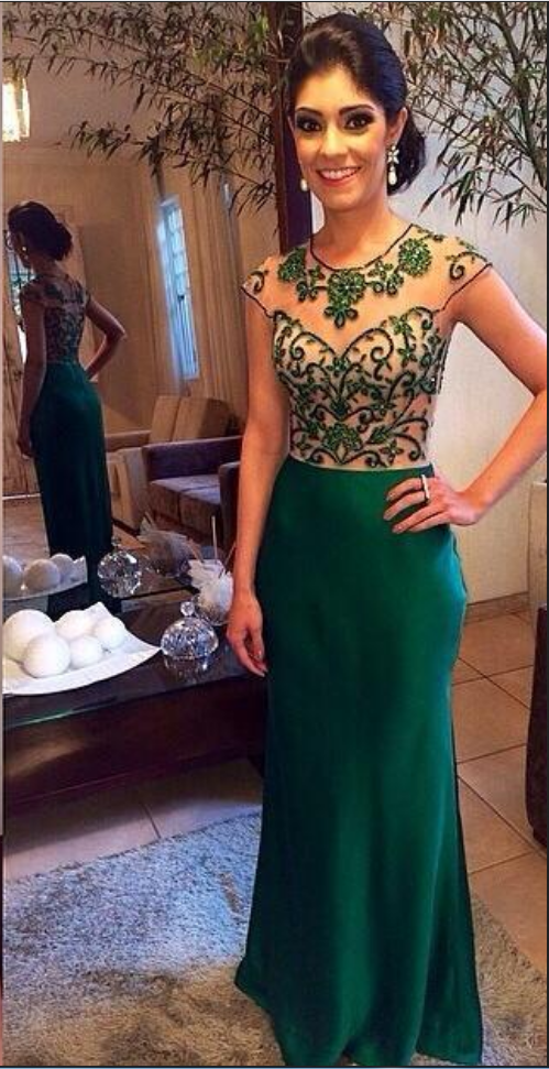 Emerald Green Prom Dress with Beads