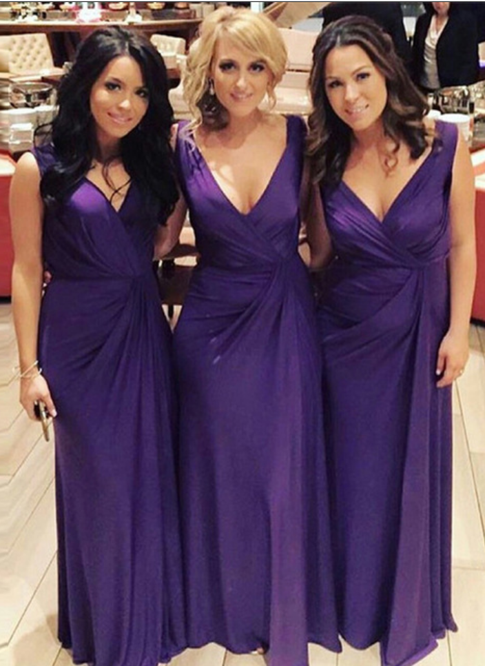 Bridesmaid Dresses Purple Long Gown Chiffon Dress Y Summer Wedding Party