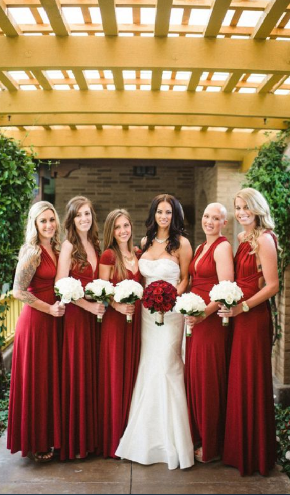 Dark Red Bridesmaid Dress Diffe Style Chiffon Dresses Long